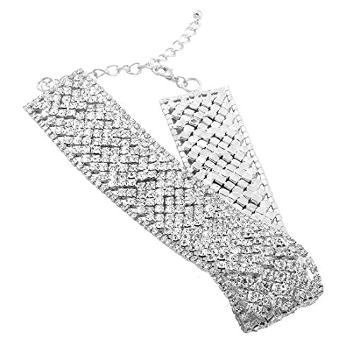 Femme Beau Alliage Strass Large Collier silver