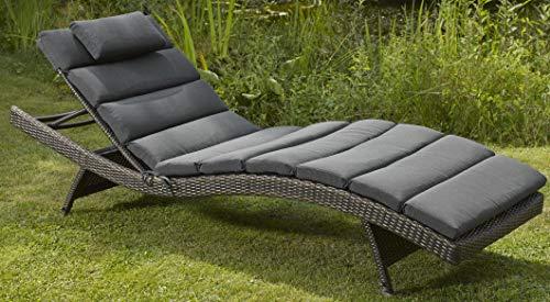 Destiny Luxe Auflage - GRAU - Wave für Gartenliege Kissen Polster Liegenauflage