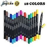 Set de stylos pinceaux Magicdo aquarelle, 18 couleurs stylo marqueur double pointe, stylo à colorier à base d'eau, pinceau avec pointe fine pour la coloration, croquis et peinture