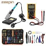 ZEEPIN Saldatore Elettrico Stagno Professionale Kit-23 in 1 di Saldatura con Valigetta per trasporto-60w 220v Saldatore Temperatura Regolabile per Precisione Saldatura