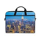 Jstel New York City gratte-ciel Crépuscule pour ordinateur portable Sac à bandoulière Case Sleeve pour 35,6cm à 39,6cm avec bandoulière réglable pour ordinateur portable