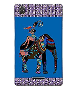 Fuson Colorful Elephant Pattern Back Case Cover for SONY XPERIA T3 - D3855