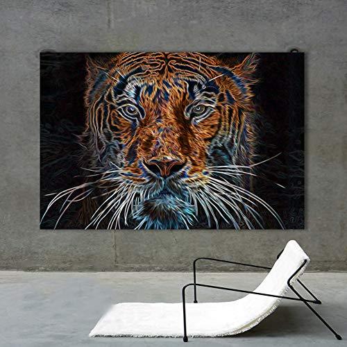 LPHMMD Leinwand Wandbild HD Gedruckt Bilder Wohnzimmer Wohnkultur Tiere Poster 1 Stück Abstrakte Tiger Leinwand Gemälde Wandkunst-50x70cm -