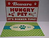 2 X Pet Dog Cat feeding Placemats Mats 2 Different Designs 43 x 28 cm approx
