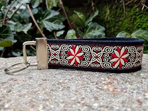 Schlüsselanhänger Schlüsselband Wollfilz schwarz Webband Windrad creme rot Geschenk! -