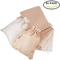 BENECREAT 24 Pack Bolsas de arpillera de gran tama?o con bolsas de regalo con cordon Bolsa de joyas para fiesta de bodas y Color de bricolaje Ropa de cama y crema, 8.8 x 6.7 pulgadas