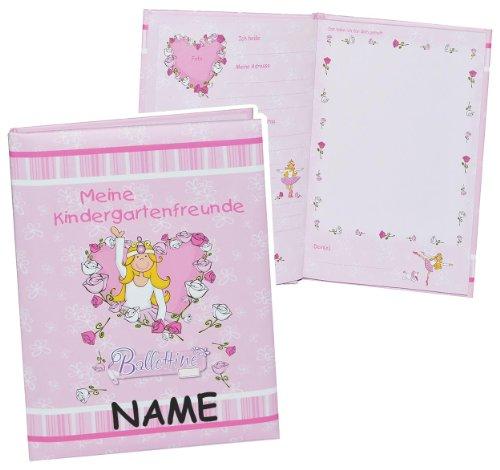 Kindergarten - Meine Freunde Buch - Ballerina Prinzessin - für Mädchen - mit Name - Freundebuch - dick gebunden für Kindergartenfreunde Poesie A5 Hardcover - .. - Herz Ballerina Kleid
