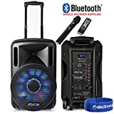 "Portable Music System DJ Speaker 12"" 700w Bluetooth Lights & Wireless Microphone"