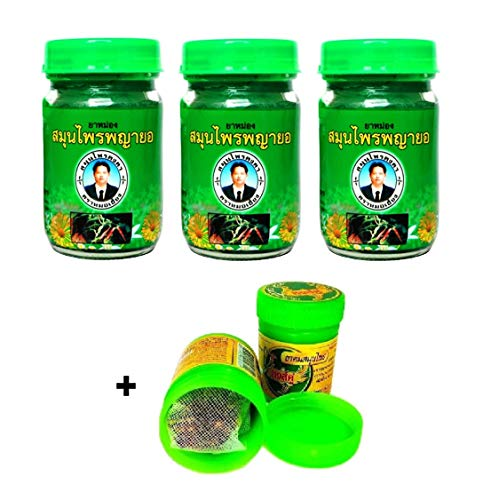 3 x 50g Thai Phayayor Green Balm Massagebalsam rein pflanzlich + Hong Koo Herbal Inhaler aus thailändischen Kräutern und ätherischen Ölen - Thai Wellness Set (Thai-massage öl)