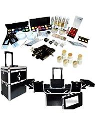 Grand kit de maquillage professionnel 50 pièces et sa valise trolley