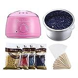 Calentador eléctrico de la máquina de depilacion cera calentador aplicador con frijoles papeles palos Waxing Kit (Rosa)