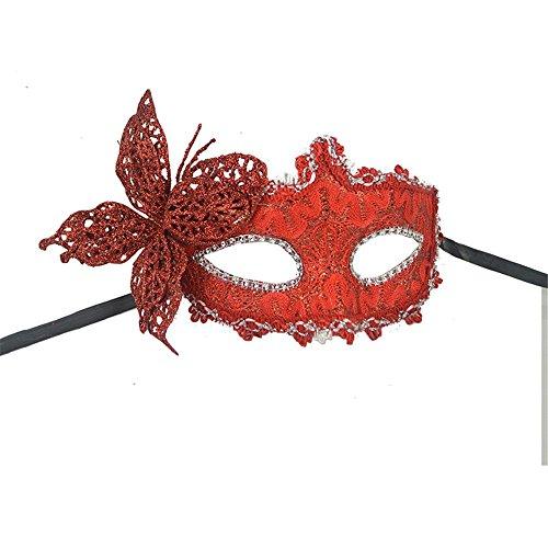 Maskerade,Halloween Venedig Maske Make-up Abschlussball Party Maske Cos Beauty Prinzessin halb Gesicht Feder Maske Schmetterling rot Masquerade