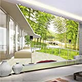 Fushoulu Fototapete Grün Bambus Landschaft 3D Wandbild Wohnzimmer Tv Sofa Schlafzimmer Hintergrund Wanddekor-280X200Cm