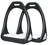 Amesbichler Kunststoffsteigbügel Reflex mit Flexibler breiter Trittfläche schwarz/weiß| Compositi Steigbügel aus Kunststoff