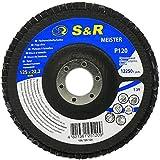 S&R Fächerschleifscheibe 125x22,2 T29, (Körnung 120). Set 5 Stück für Schleifen von Stahl und Holz. Set für Winkelschleifer.