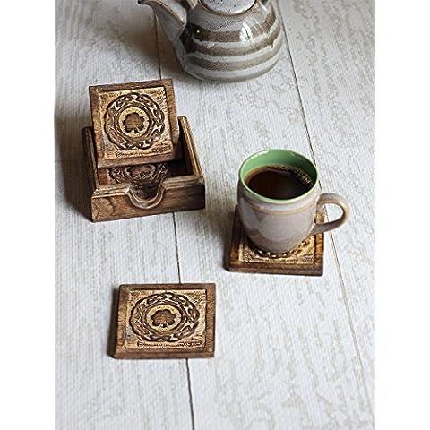 Regalos de Navidad, de madera Square beber Posavasoss Juego de 4 manos talladas con diseno de trebol y sostenedor de comedor mesatop accesorio