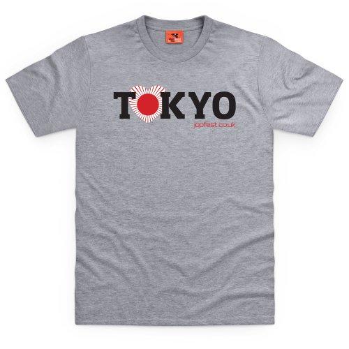 Japfest Tokyo Banner T-Shirt, Herren Grau Meliert