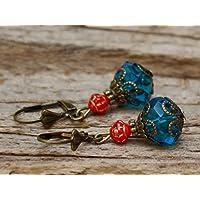 Vintage Ohrringe mit Glasperlen - petrolblau, rot & bronze