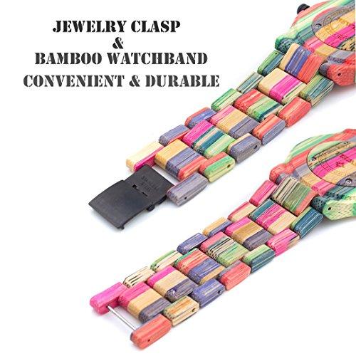 BEWELL Herren Uhr Holz Analog Japanisches Quarzwerk mit Bambus Armband Rund Holzuhr Männer (Mehrfarbig 1) - 4