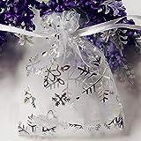 100 pezzi sacchetti sacchettini riso portariso portaconfetti bomboniere organza 7x9cm per matrimonio compleanno battesimo comunione nascita festa Natale sacchettino sacchetto coulisse porta