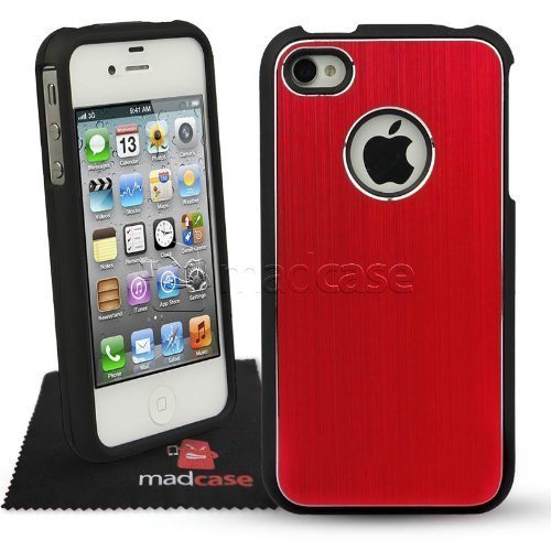 MadCase Apple iPhone 4S / 4 Aluminium Metalle Elegante Pro Case Etui Hülle case mit schwarzen bumper - dunkelblau rot