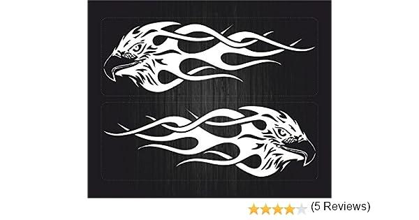 Set 2X Autocollant Sticker macbook Laptop Voiture Moto Aigle Tribal Flamme Blanc
