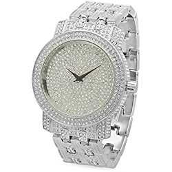 Rhodium Plated Ice Master Silver Dial Watch Iced Out w/Cubic Zirconia