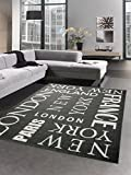 Carpetia Teppich Sisal Optik Küchenläufer City New York London Paris schwarz Weiss Größe 120x170 cm