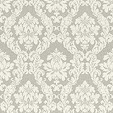 Casa Padrino Barock Textiltapete Weiß/Beige / Creme/Grau / Silber - 10,05 x 0,53 m - Stofftapete im Barockstil