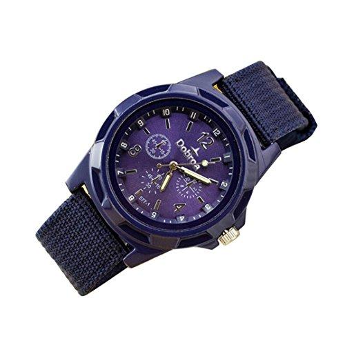 Uhr Uhren Sportuhr armbanduhr DAY.LIN Herrenmode Sport geflochtene Leinwand Gürtel Uhr analoge Armbanduhr (Lila) (Unterwäsche Fliegen)