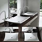 BTH: 60x40x9 cm Design-Aufsatzwaschbecken Brüssel5096 aus Keramik mit Nano-Versiegelung eckige