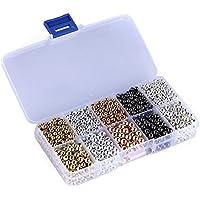 1Box 5colores Mix Tiny perlas de bola de metal plateado espaciador Redondo 4mm y 6mm) con funda transparente para joyería de DIY Manualidades
