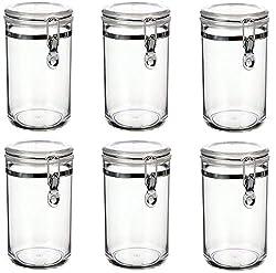 Vorratsbehälter Vorratsdosen 6 teilig 800ml | Luftdicht | Bügelverschluss Deckel | Kunststoff Frischhaltedose Set