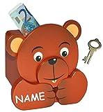 """hochwertige Spardose - """" Teddy """" - mit Schlüssel - incl. Name - stabile Sparbüchse aus Holz / Sparschwein für Kinder - Mädchen & Jungen - Tierspardose / Holzspardose Teddybär Bär Tier"""