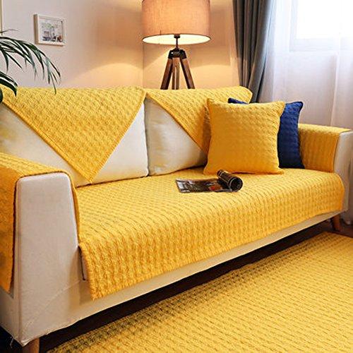 J&SSSU Sofaüberwurf Baumwolle,1 stück Couch Decken Anti-rutsch möbel Protector Abdeckung für 1 2 3 4 Sofa(Gelbe)-A 90x120cm(35x47inch)