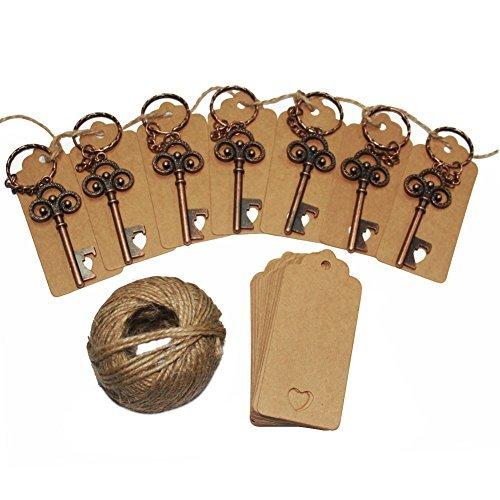 Ayaoqiang bomboniere matrimonio scheletro chiave apribottiglie con 50 bigliettini di carta e spago, bomboniere per ospiti per festa, colore bronzo, 50 pezzi.  bronze