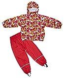 Elka-Tuta impermeabile pioggia pantaloni + giacca impermeabile per bambini, a righe e, monocolore colori varie taglie 220g/poliestere, Bambino - ragazza, Rot mit Kreisen, 116