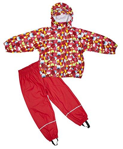 Elka Regenanzug Regenhose + Regenjacke für Kinder, gestreift und einfärbig Farben viele Größen 220g/Polyester (152, Rot mit Kreisen)