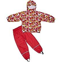 Elka–Tuta impermeabile pioggia pantaloni + giacca impermeabile per bambini, a righe e, monocolore colori varie taglie 220g/poliestere, Bambino - ragazza, Rot mit Kreisen, 104