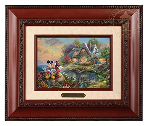 Thomas Kinkade Studios Mickey und Minnie Sweetheart Cove Pinsel, 12,7 x 17,8 cm Traditionell 12Lx10Hx1.25W Brandy Frame -