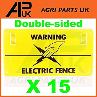 APUK 15x Electric Fence Warning Plastic Sign Double Sided Poly Wire tape Screw Fixing