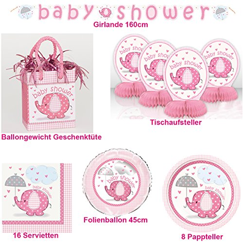 Baby Shower Set Geschirr Baby Geburt Geschenk 30-teilig Ballongewicht Geschenktüte Teller Servietten Folienballon Girlande Tischdeko