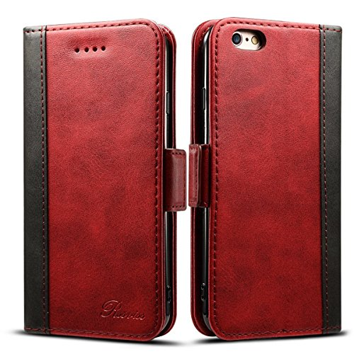 "Rssviss Housse iPhone 6 plus/6s Plus, Etui en Cuir pour iPhone 6 plus/6s Plus [4 emplacements pour Cartes et Monnaie] avec [Fermeture magnétique] iPhone 6P/6sP Coque Rabat 5,5"" Rouge"