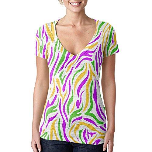 Old Glory Mardi Gras Zebra Stripes Costume Juniors Burnout V-Neck T-Shirt Multi SM (Zebra Burnout)