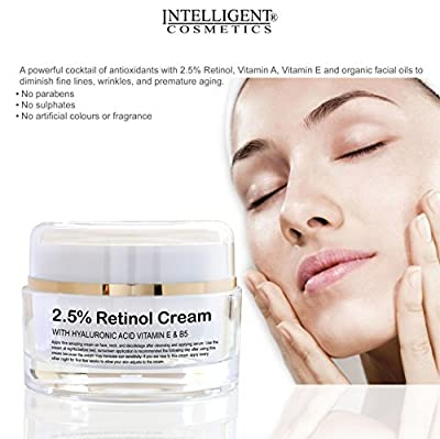 2.5% Retinol Collagen Rejuvenating Cream with Hyaluronic Acid, Vitamin E Vitamin B5 and Organic Facial Oils, Powerful Anti Ageing Anti Wrinkle Moisturiser for Younger Looking Skin, 30ml