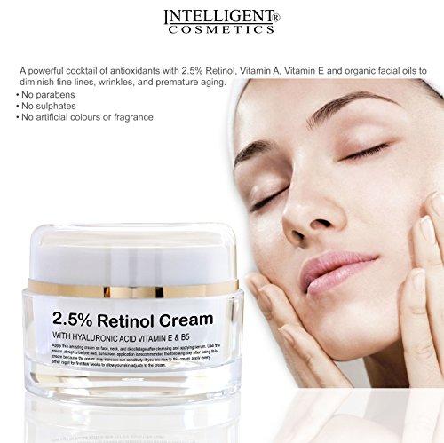 2.5% Retinolo collagene crema rigenerante con acido ialuronico, vitamina E vitamina B5e organici oli facciale, potente anti invecchiamento anti rughe idratante per Younger looking Skin, 30ml