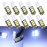 Grandview 10Pcs 501 W5W LED Bulbs Cool White T10 42-SMD 1206 High Power 168 194 2825 921 LED Car Interior,Dashboard Number Plate,Boot Light Bulbs