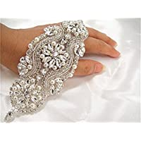 Gorgeous Beaded Bridal Applique Diamante Motif Rhinestone Pearl Wedding Applique by ShiDianYi