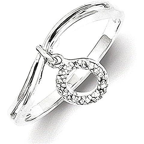 Argento placcato Rhodium cerchio del diamante ciondola Anello
