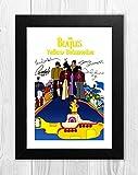 Engravia Digital The Beatles Yellow Submarine Film Poster Signed Autograph Reproduktion Foto A4Kunstdruck Schwarzer Rahmen